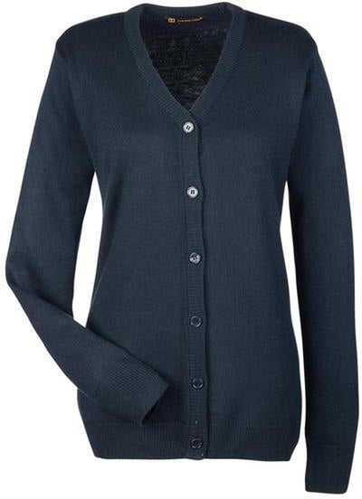 Harriton-Ladies Pilbloc V-Neck Button Cardigan Sweater-M425W-XS-Dark Navy-Thread Logic