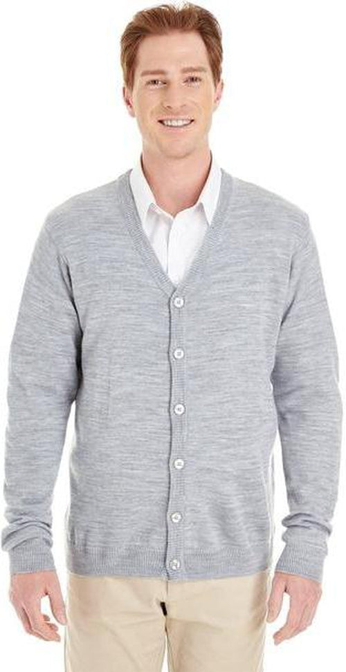 Harriton-Pilbloc V-Neck Button Cardigan Sweater-S-Grey Heather-Thread Logic