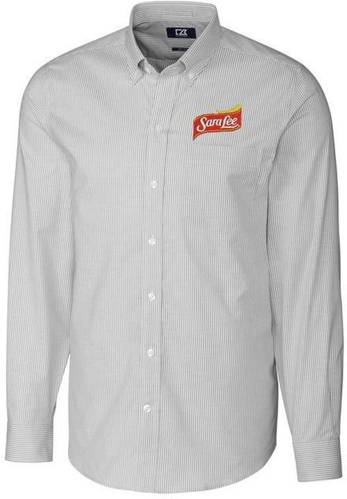 Cutter&Buck L/S Tailored Fit Stretch Oxford Stripe-Thread Logic no-logo