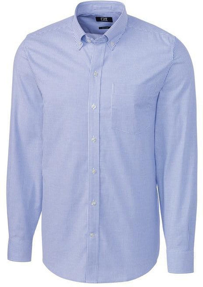 Cutter&Buck L/S Tailored Fit Stretch Oxford Stripe-S-French Blue-Thread Logic
