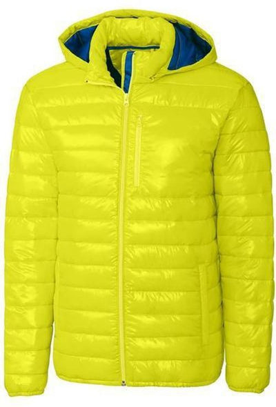 Clique Stora Puffy Jacket-S-Visibility Green/Royal-Thread Logic logo-right
