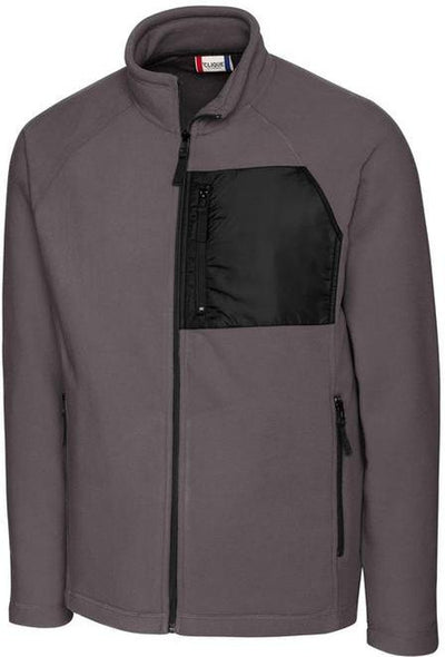 Clique Summit Microfleece Hybrid Full Zip-S-Charcoal-Thread Logic