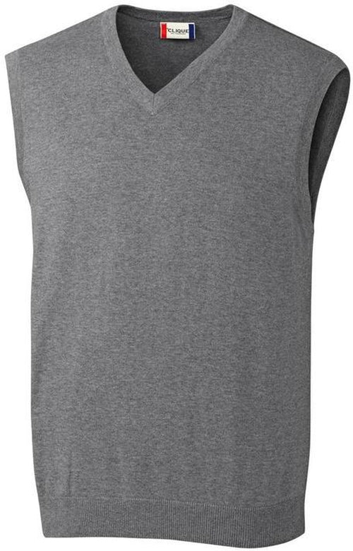 Clique Imatra V-neck Sweater Vest-S-Charcoal Melange-Thread Logic