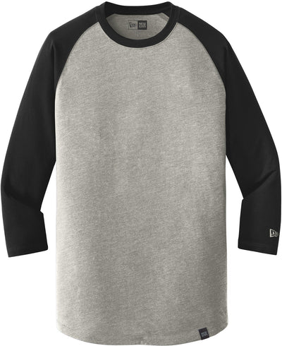 New Era Heritage 3/4-Sleeve Baseball Raglan Tee-S-Black/Rainstorm Grey Heather-Thread Logic