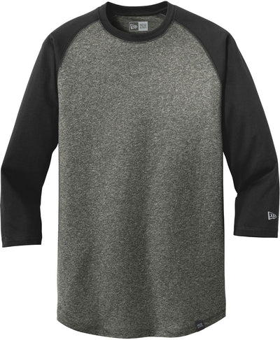 New Era Heritage 3/4-Sleeve Baseball Raglan Tee-S-Black/Black Twist-Thread Logic