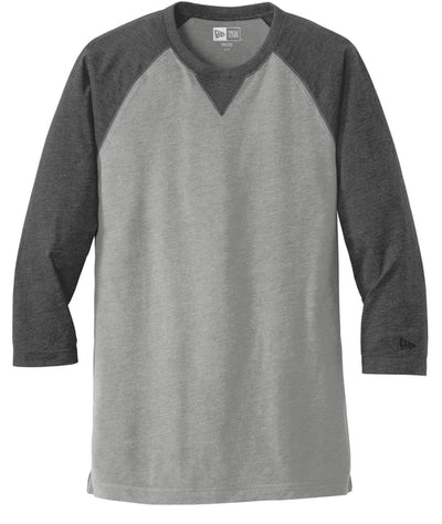New Era Sueded Cotton 3/4-Sleeve Baseball Raglan Tee-S-Black Heather/Shadow Grey Heather-Thread Logic