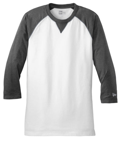 New Era Sueded Cotton 3/4-Sleeve Baseball Raglan Tee-S-Black Heather/White-Thread Logic