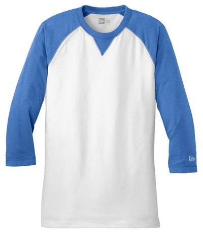 New Era Sueded Cotton 3/4-Sleeve Baseball Raglan Tee-S-Royal Heather/White-Thread Logic