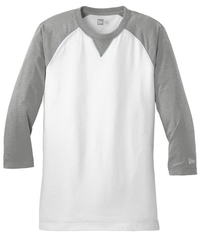 New Era Sueded Cotton 3/4-Sleeve Baseball Raglan Tee-S-Shadow Grey Heather/White-Thread Logic