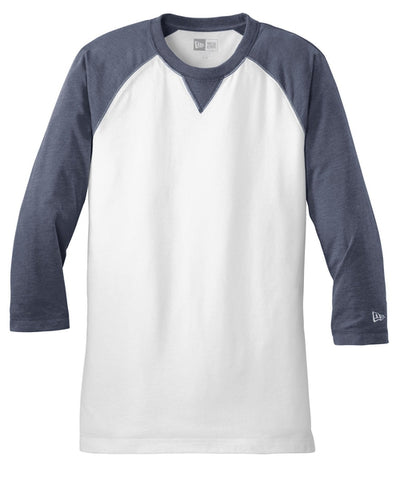 New Era Sueded Cotton 3/4-Sleeve Baseball Raglan Tee-S-True Navy Heather/White-Thread Logic