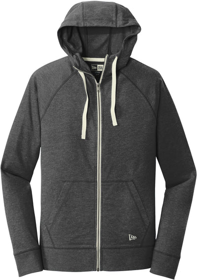 Black Heather New Era Sueded Cotton Full-Zip Hoodie