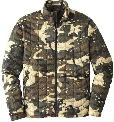 North Face ThermoBall Trekker Jacket-S-Burnt Olive Green Woodchip Camo Print-Thread Logic logo-right