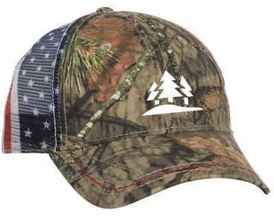 Outdoor Cap Camo Cap with American Flag Mesh Back