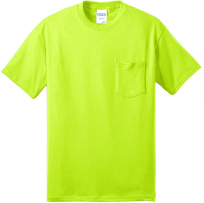 Port & Company-Tall Core Blend Pocket Tee-XLT-Safety Green-Thread Logic
