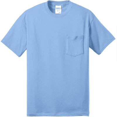 Port & Company-Tall Core Blend Pocket Tee-XLT-Light Blue-Thread Logic