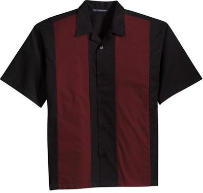 Port Authority-Retro Camp Shirt-S-Black/Burgundy-Thread Logic