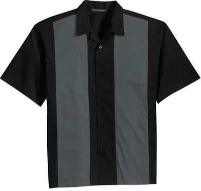 Port Authority-Retro Camp Shirt-S-Black/Steel Grey-Thread Logic