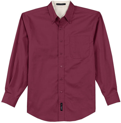 Port Authority-Long Sleeve Easy Care Dress Shirt-S-Burgundy/Light Stone-Thread Logic
