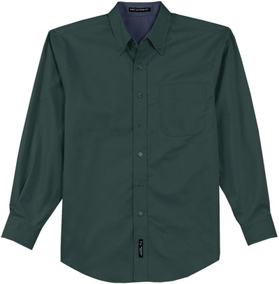 Port Authority-Long Sleeve Easy Care Dress Shirt-S-Dark Green/Navy-Thread Logic