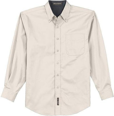 Port Authority-Long Sleeve Easy Care Dress Shirt-S-Light Stone/Navy-Thread Logic