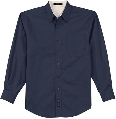 Port Authority-Long Sleeve Easy Care Dress Shirt-S-Navy/Light Stone-Thread Logic
