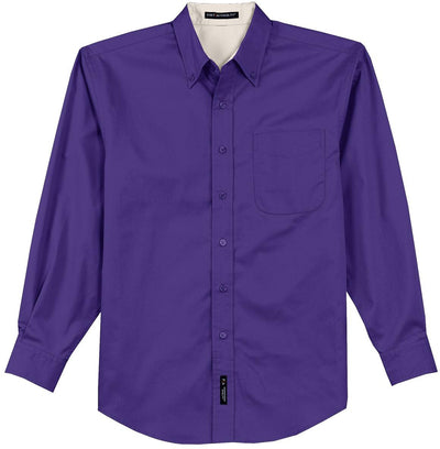 Port Authority-Long Sleeve Easy Care Dress Shirt-S-Purple/Light Stone-Thread Logic