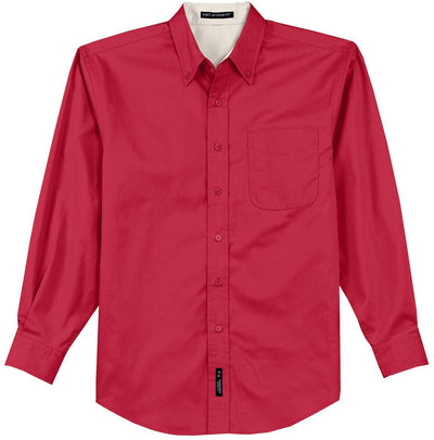 Port Authority-Long Sleeve Easy Care Dress Shirt-S-Red/Light Stone-Thread Logic