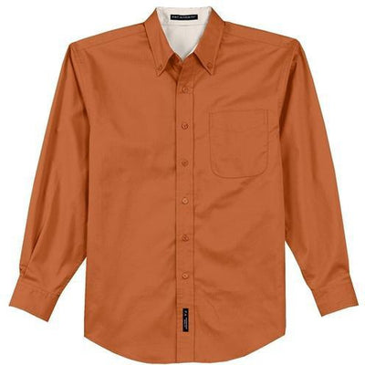 Port Authority-Long Sleeve Easy Care Dress Shirt-S-Texas Orange/Light Stone-Thread Logic