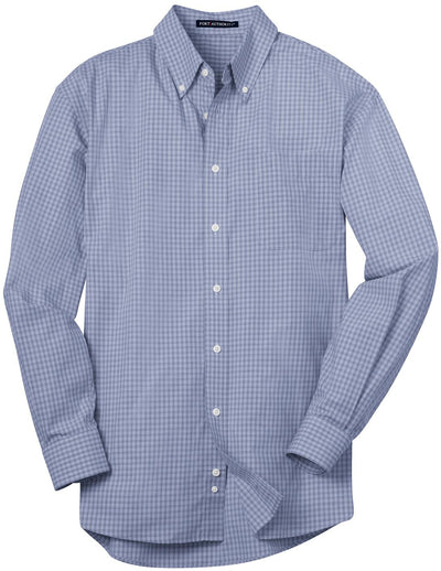 Port Authority-Plaid Pattern Easy Care Shirt-S-Navy-Thread Logic