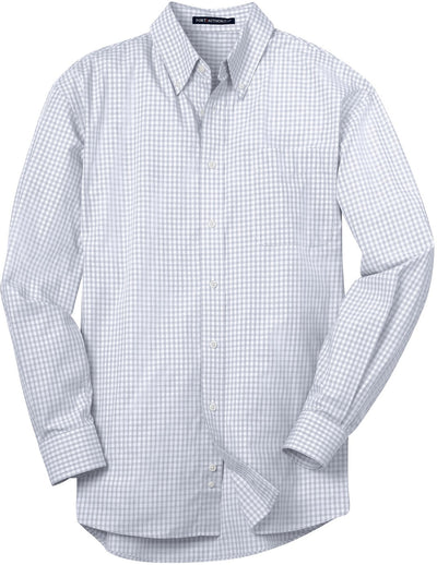 Port Authority-Plaid Pattern Easy Care Shirt-S-White-Thread Logic
