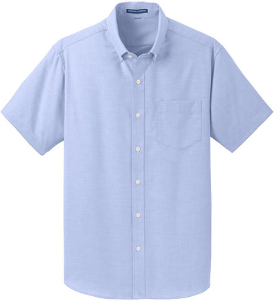 Port Authority-Short Sleeve SuperPro Oxford Shirt-S-Oxford Blue-Thread Logic