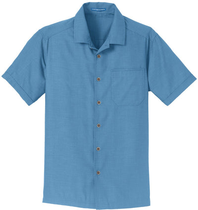 Port Authority-Textured Camp Shirt-S-Celadon Blue-Thread Logic