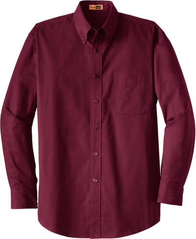 Cornerstone-Long Sleeve SuperPro Twill Shirt-S-Burgundy-Thread Logic