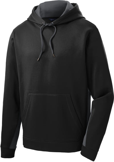Sport Tek-Sport-Wick Fleece Colorblock Hooded Pullover-S-Black/Dark Smoke Grey-Thread Logic