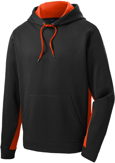 Sport Tek-Sport-Wick Fleece Colorblock Hooded Pullover-S-Black/Orange-Thread Logic