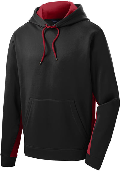 Sport Tek-Sport-Wick Fleece Colorblock Hooded Pullover-S-Black/Deep Red-Thread Logic