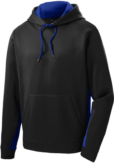 Sport Tek-Sport-Wick Fleece Colorblock Hooded Pullover-S-Black/True Royal-Thread Logic