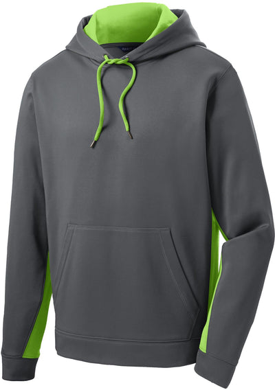 Sport Tek-Sport-Wick Fleece Colorblock Hooded Pullover-S-Dark Smoke Grey/Lime Shock-Thread Logic