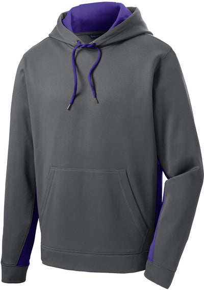 Sport Tek-Sport-Wick Fleece Colorblock Hooded Pullover-S-Dark Smoke Grey/Purple-Thread Logic