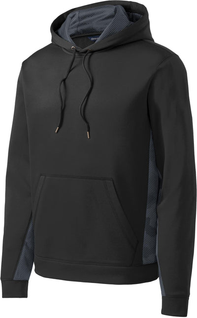 Sport Tek-CamoHex Fleece Colorblock Hooded Pullover-S-Black/Dark Smoke Grey-Thread Logic