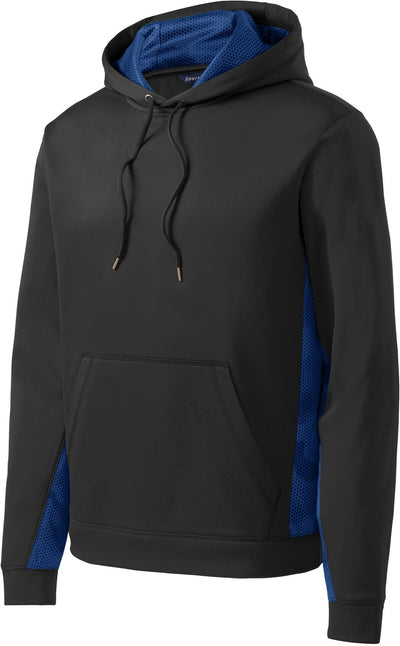 Sport Tek-CamoHex Fleece Colorblock Hooded Pullover-S-Black/True Royal-Thread Logic