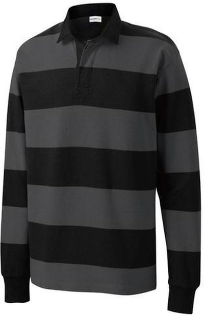 Sport Tek-Classic Long Sleeve Rugby Polo-S-Black/Grey-Thread Logic
