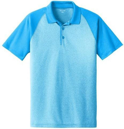 Sport Tek-Raglan Heather Block Polo-XS-Pond Blue Heather/ Pond Blue-Thread Logic