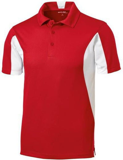 Sport Tek-Side Blocked Micropique Polo Shirt-S-Red-Thread Logic