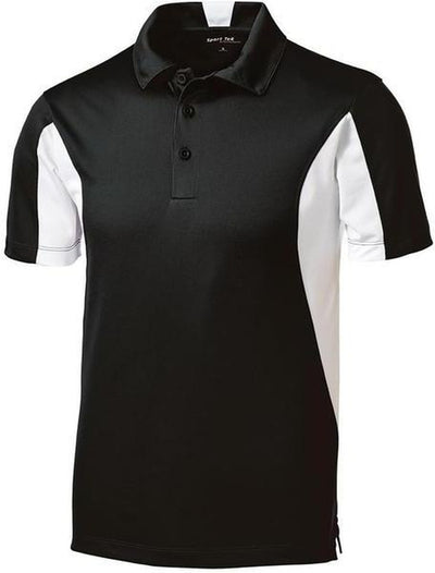 Sport Tek-Side Blocked Micropique Polo Shirt-S-Black/White-Thread Logic
