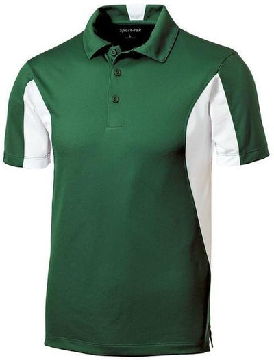 Sport Tek-Side Blocked Micropique Polo Shirt-S-Forest Green/White-Thread Logic