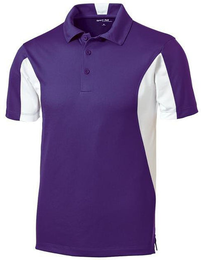 Sport Tek-Side Blocked Micropique Polo Shirt-S-Purple/White-Thread Logic