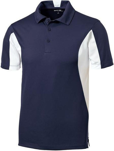 Sport Tek-Side Blocked Micropique Polo Shirt-S-Navy/White-Thread Logic