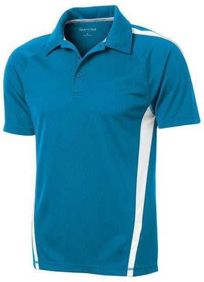 Sport Tek-Micro-Mesh Colorblock Polo-S-Blue Wake/White-Thread Logic