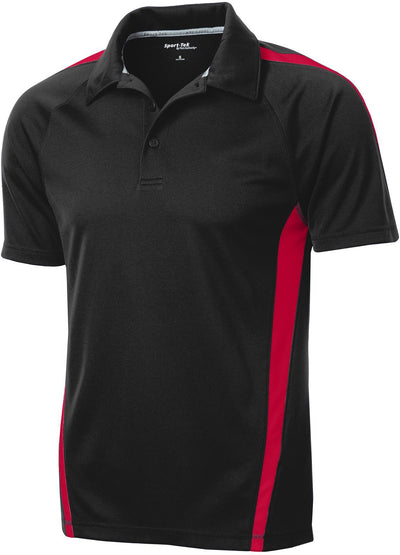 Sport Tek-Micro-Mesh Colorblock Polo-S-Black/Red-Thread Logic